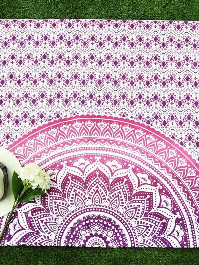Lotus Flower Print Beach Blanket