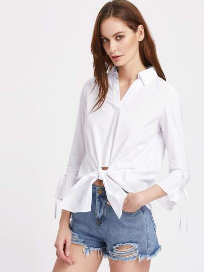 V-Placket Bell Sleeve Knot Front Blouse