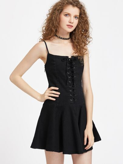 Eyelet Lace Up Front Zipper Side Denim Cami Dress