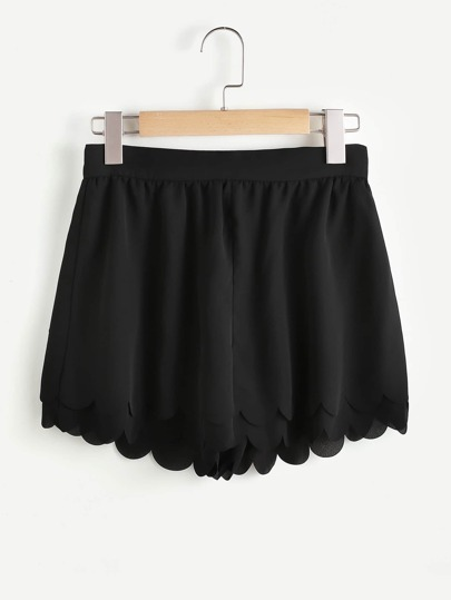Scallop Hem Zip Back Layered Wide Leg Shorts