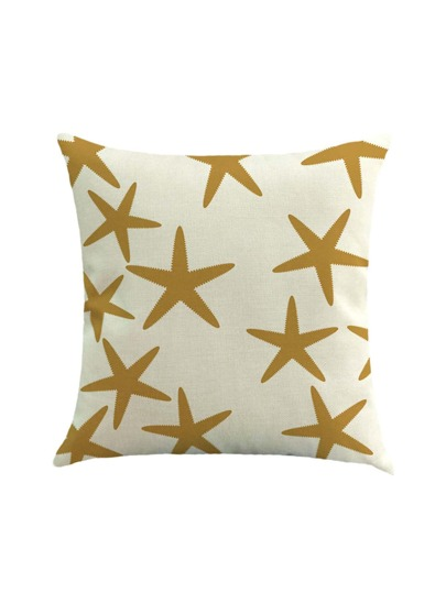 Starfish Print Linen Pillowcase Cover