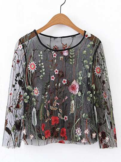Long Sleeve Embroidery Mesh Top