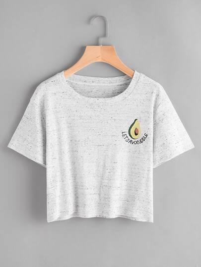 T-shirt con ricamo di avocado