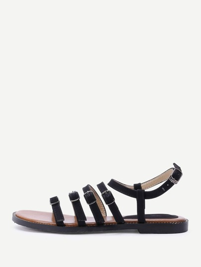 Buckle Design Strappy Flat Sandals