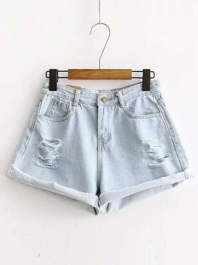 Ripped Detail Rolled Hem Denim Shorts