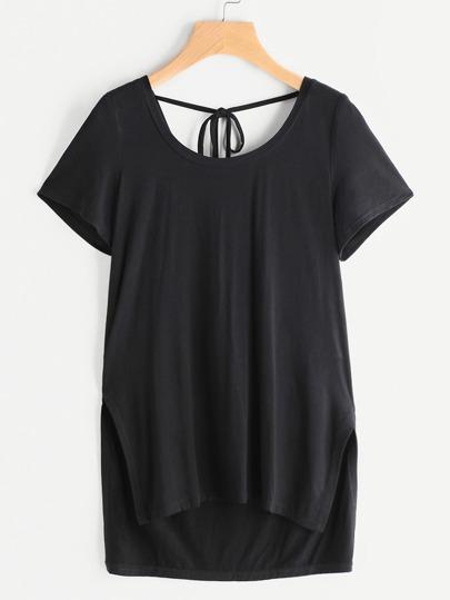 Asymmetrische Shirt mit seitlicher Öffnung - schwarz
