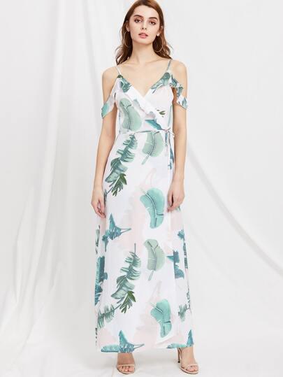 V Back Ruffle Trim Maxi Dress