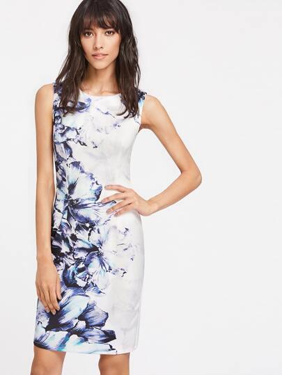 Vestido entallado con estampado de flor y espalda con abertura