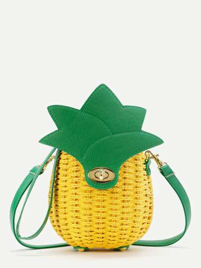 Pineapple Shaped Straw Crossbody Bag