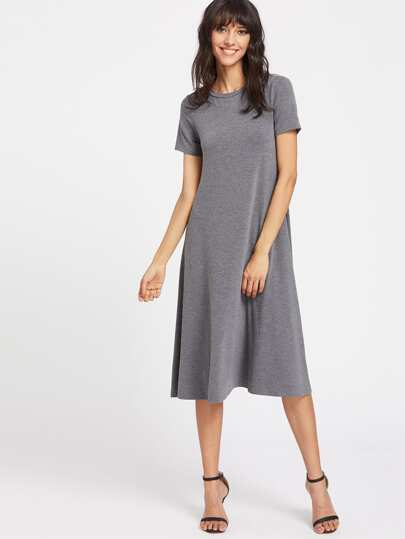 Heather Knit Swing Tee Dress
