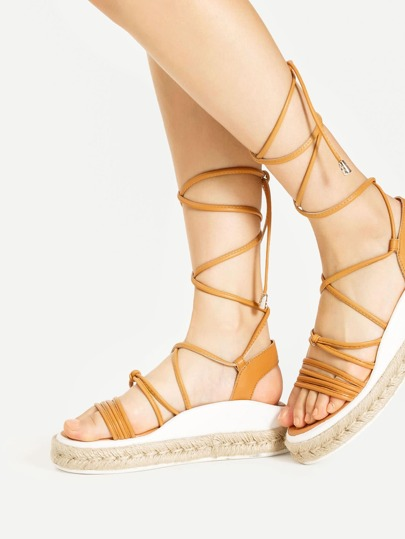 Lace Up Woven Flatform Sandals
