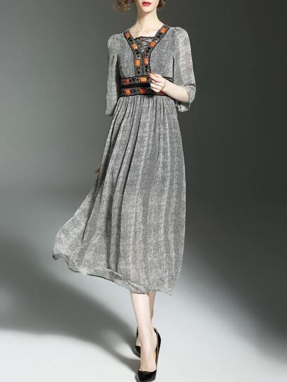 Grey Contrast Lace Beading Long Dress