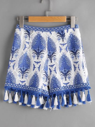 Pantaloncini con stampa di coltura, con fondo con frange