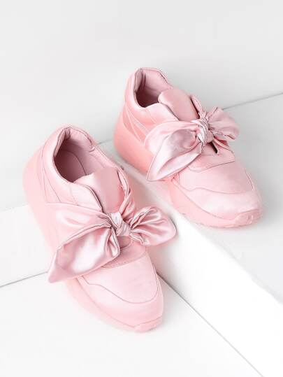 Bow Tie Design Satin Sneakers