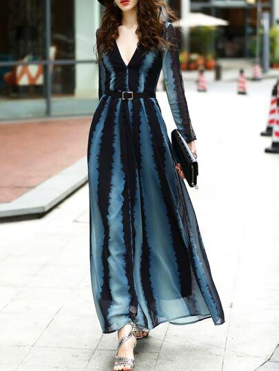 Color Block V Neck Belted Maxi Dress