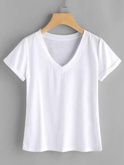 Tee-shirt col en V avec des replis