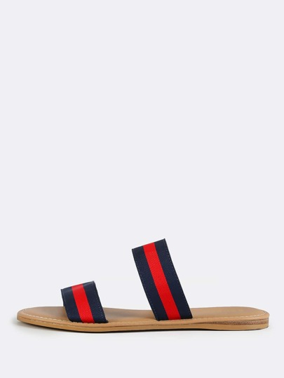Duo Band Nautical Slip On Sandals NAVY RED