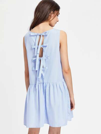 Split Tie Back Striped Drop Waist Dress