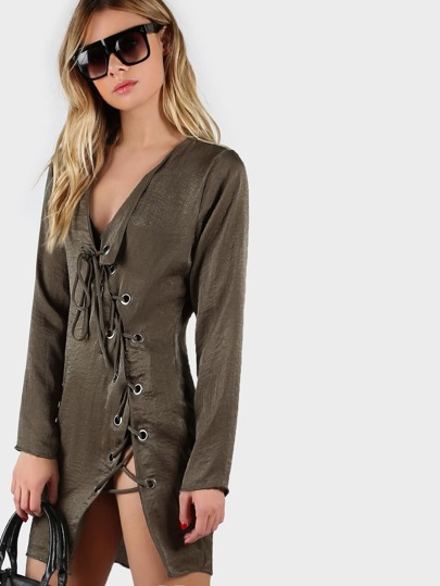 Grommet Lace Up Long Sleeve Dress OLIVE