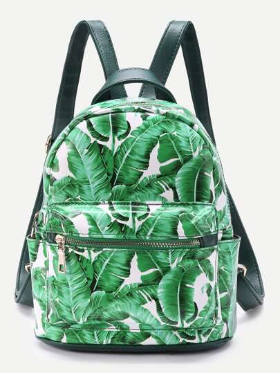 Leaf Print Front Zipper Backpack