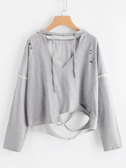 V Cut Heathered Distressed Hoodie