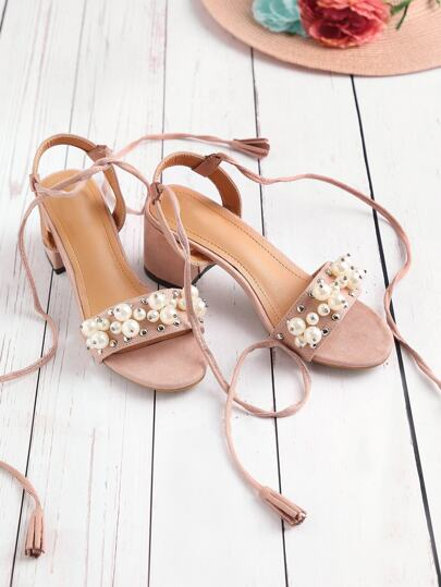 Faux Pearl And Studded Decorated Lace Up Sandals