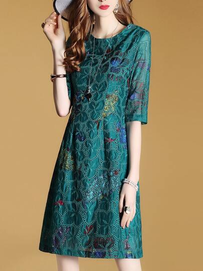 Vestido de malla con estampado de pez-azul