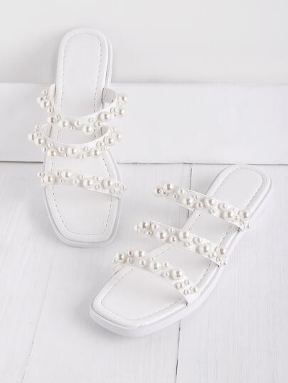 Faux Pearl Embellished Strap Slide Sandals