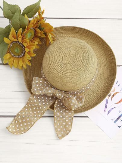 Cappello di paglia con cravatta a farfalla a pois