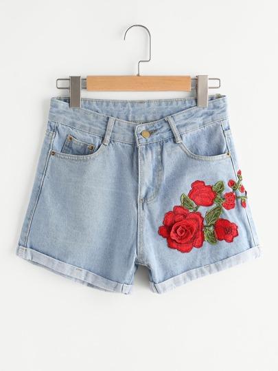 Cuffed Appliques Denim Shorts