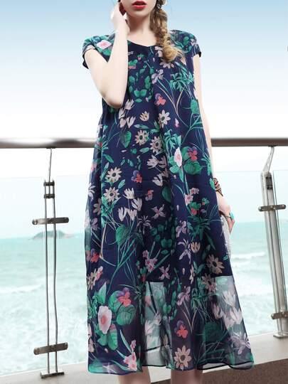 Vestido recto fino con estampado de flores