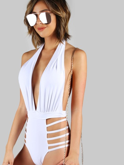 Low Back Halter Bikini WHITE