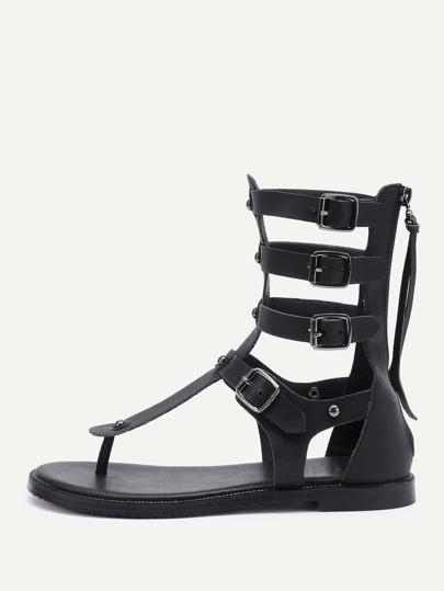 Buckle Design Toe Post PU Sandals With Zipper