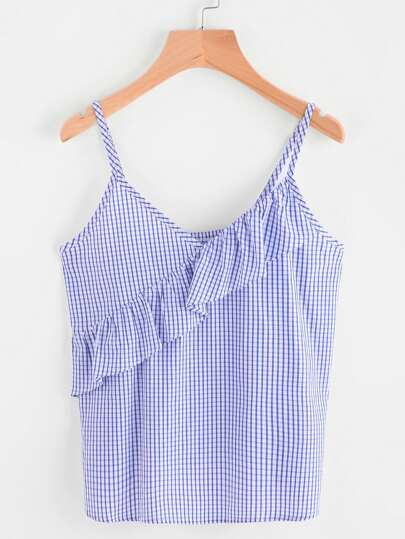 Frill Trim Grid Checkered Cami Top