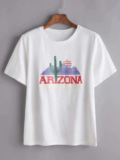Camiseta con estampado de letra - blanco