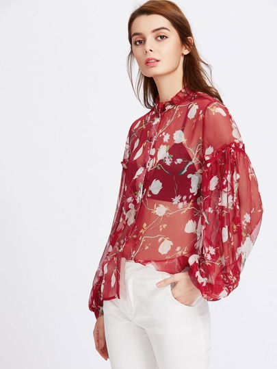 Ruffle Collar Bishop Sleeve Sheer Blossom Blouse