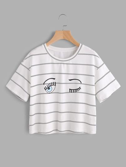 T-shirt con spalle scivolate e stampa a righe occhi wink