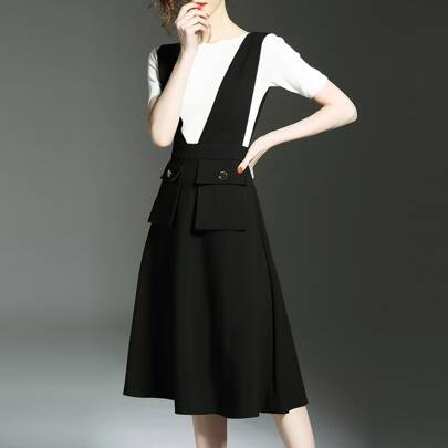 Black Knit Shirt Two-piece A-Line Dress