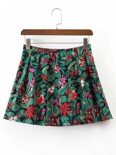 Floral Zipper Side A Line Skirt