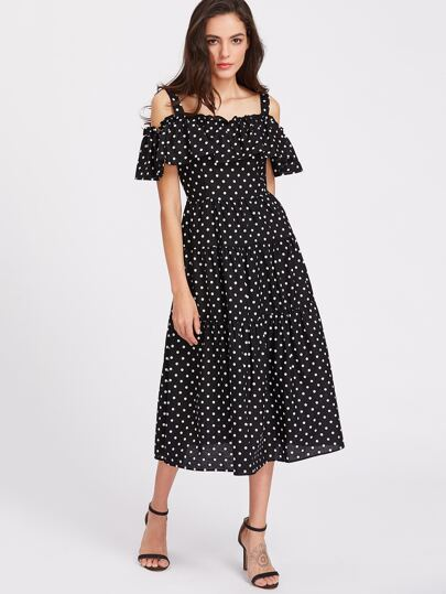 Flounce Layered Neckline Polka Dot Tea Length Dress