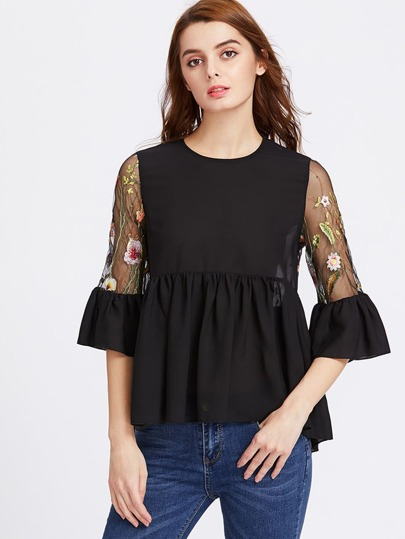 Embroidered Mesh Back And Flute Sleeve Smock Top