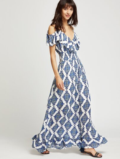 Paisley Print Frill Cold Shoulder Dress