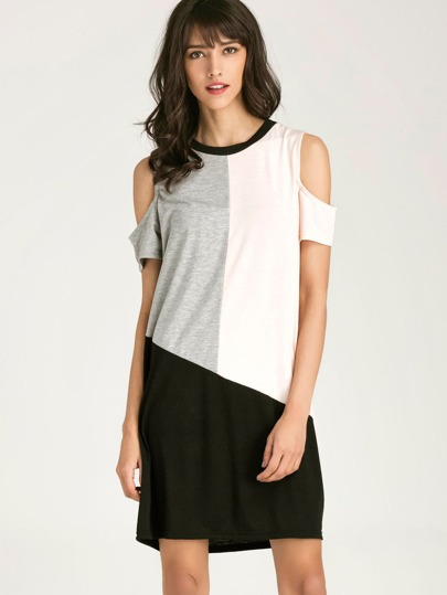 Color Block Open Shoulder Tee Dress
