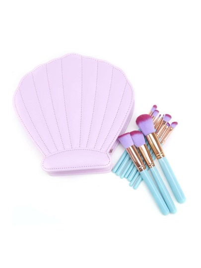 Delicate Brush Set With Shell Shaped Bag