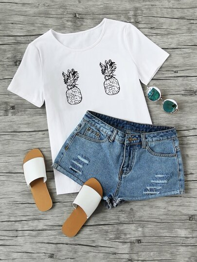 Camiseta de mangas cortas con estampado de piña
