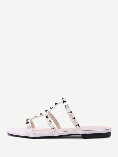 Open Toe Studded Detail Strappy Slippers