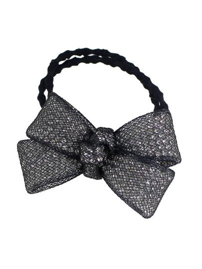 Black Color Trendy Multicolors Rhinestone Bow Elastic Hair Rope