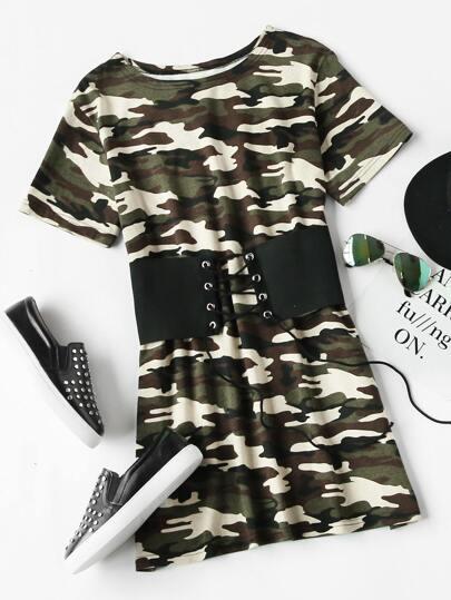 Corset Belt Camo Tee Dress