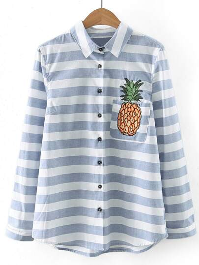 Contrast Striped Pineapple Embroidery Pocket Blouse