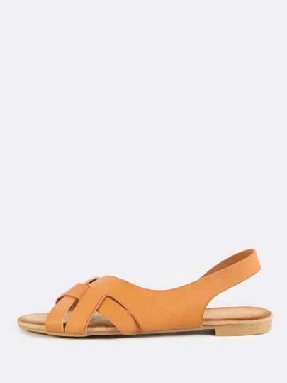 Open Toe Wrap Sling Back Sandals TAN